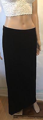 Vintage Ladies Long Velour Black Maxi Skirt Size 12 Stretchy Retro Fashion | eBay