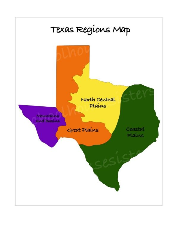 Regions Of Texas Map Pin on Texas History: Regions of Texas
