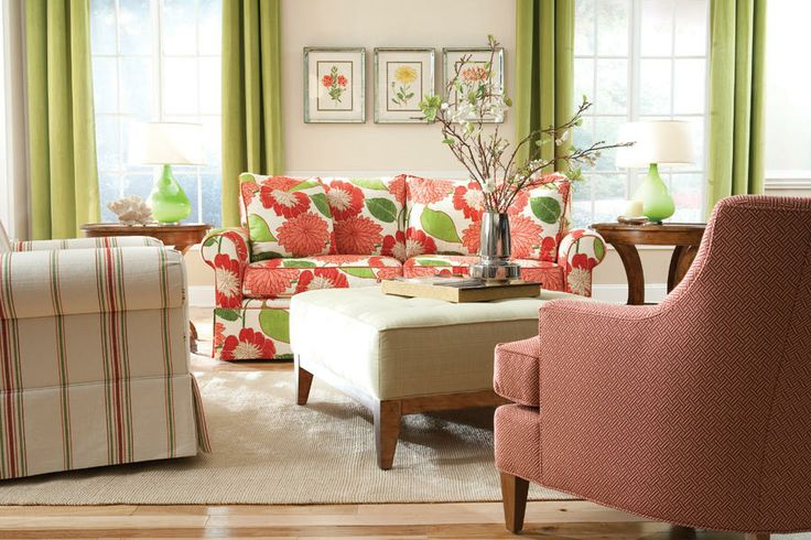 Beautiful bold floral printed sofa and coordinating living room from Huntington House Furniture.