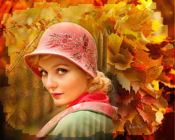 Animazione ritratto della ragazza in un cappello su uno sfondo di foglia d'oro, Lush @