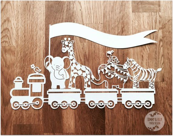 Animal Train SVG PDF Design  Papercutting by TommyandTillyDesign