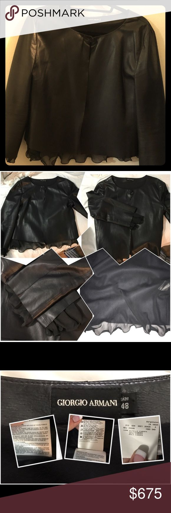Giorgio Armani Leather Jacket with ruffled accents In pristine condition. Worn one time. Ruffled lining inside that peaks out the sleeves and the bottom. Giorgio Armani Jackets & Coats