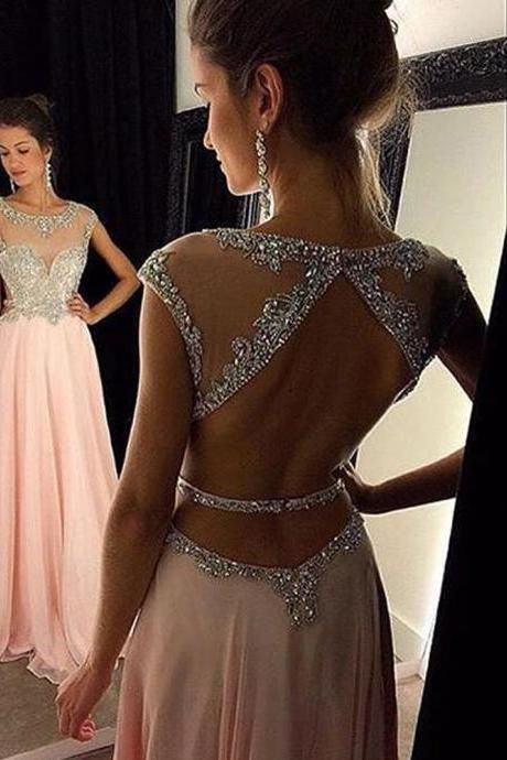 Sexy Women Strapless Beaded Formal Dresses Pink Chiffon Evening Party Gonws With Open Back,Prom Dresses 2017,Modesr Evening Dresses,Beauty Party Dresses