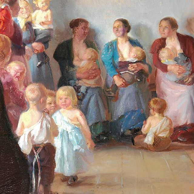 Detail from Anna Ancher's 'A vaccination' from 1899. Anna Ancher is mostly known for her small compostions with just one or two figures, but around the turn of the century, she tried her hand at larger paintings with multiple people, like in this picture. It was exhibited the same year in Copenhagen, but thereafter stayed in private ownership until 2013, when it was added to the museum's collection #annaancher