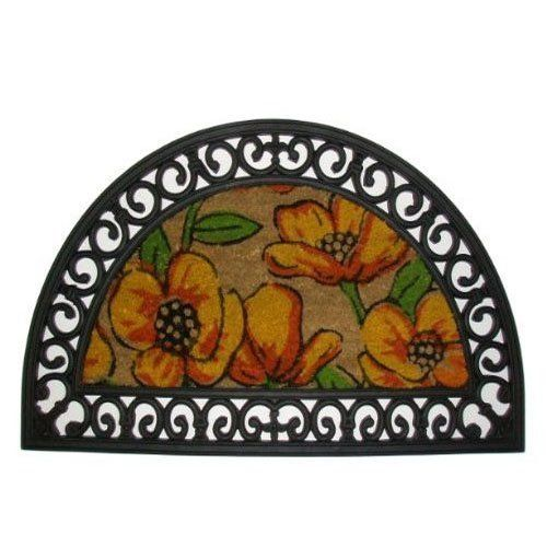 imports decor half round rubber door mat with decorated coir mat insert poppy design - Rubber Door Mat