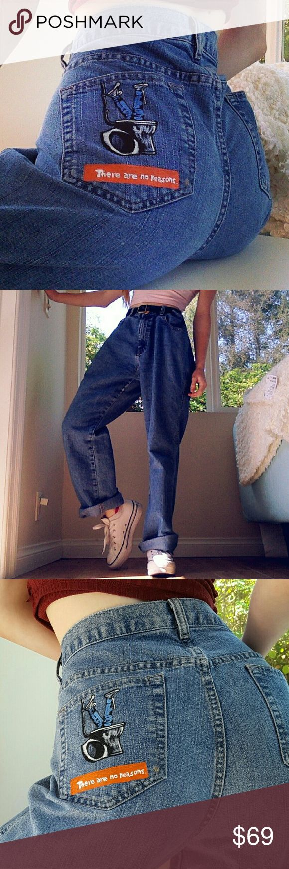 HANDPAINTED TRAINSPOTTING MOM JEANS Gahhh, these vintage Calvin Klein jeans have…