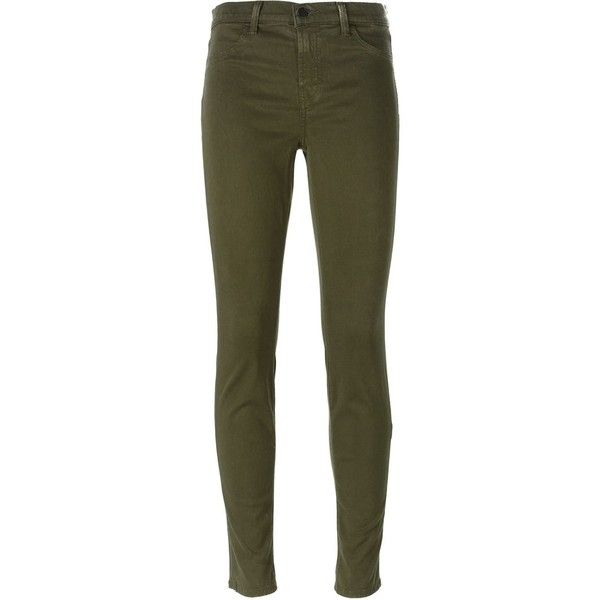 J Brand Skinny Jeans ($104) ❤ liked on Polyvore featuring jeans, pants, bottoms, trousers, green, skinny fit denim jeans, green jeans, j brand, cut skinny jeans and skinny jeans