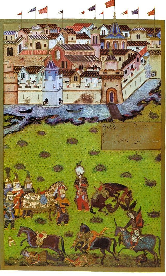 Siege of Temesvár (1552 CE) (Hünernâme (1588 CE Ottoman Miniature Painting) -Seyyid Lokman) | Sipahi (Ottoman Turk Cavalry (On Foot, Armored)), Silahtar (Emperor Bodyguard (Red Cap)), Deli (Ottoman Hungarian Irregular Cavalry (Spearing))
