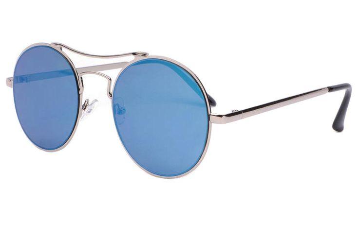 Lunettes de soleil rondes miroir bleu marine fashion Cartny marque Eyewear,  lunette de soleil homme et femme tendance monture métal argent élancée ... 8dc7e7664c9b