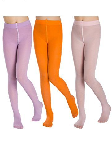 c605256bd561f Beenoo Design Girls Tights Footed Dance Tights,Solid Color Ballet Tights 3- Pair-Pack