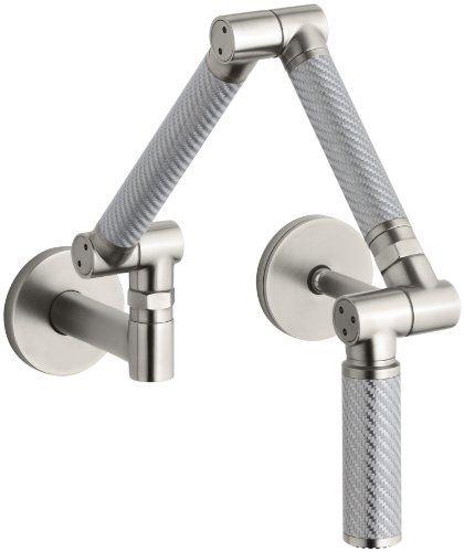 kohler k6228c11vs karbon wallmount kitchen faucet with silver