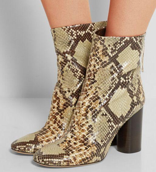 Sıcak!! Moda Sonbahar Kış Kadın Çizmeler Serin Snakeskin Desen Ayak Bileği…