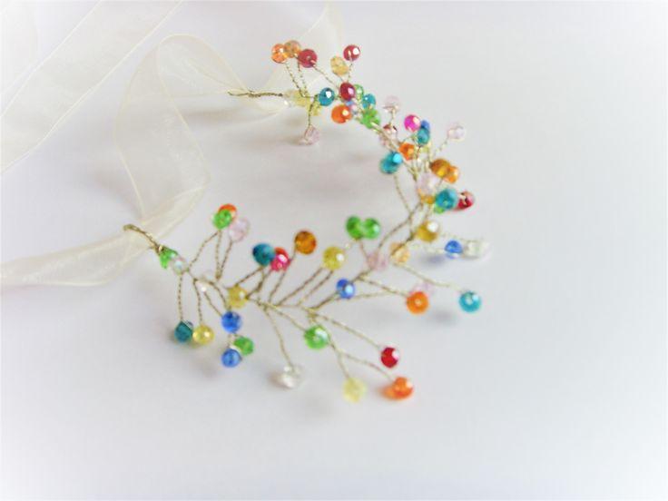 Bracelet Mariage Perles Colorées et fil Argenté . : Bracelet par crea-mania