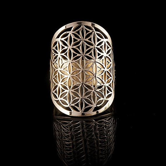 Fiore di vita anello in ottone, geometria sacra, yoga gioielli, anelli di ottone tribali (codice 251)