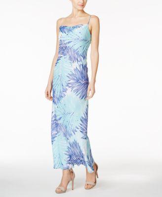 Calvin Klein Tropical-Print Chiffon Maxi Dress