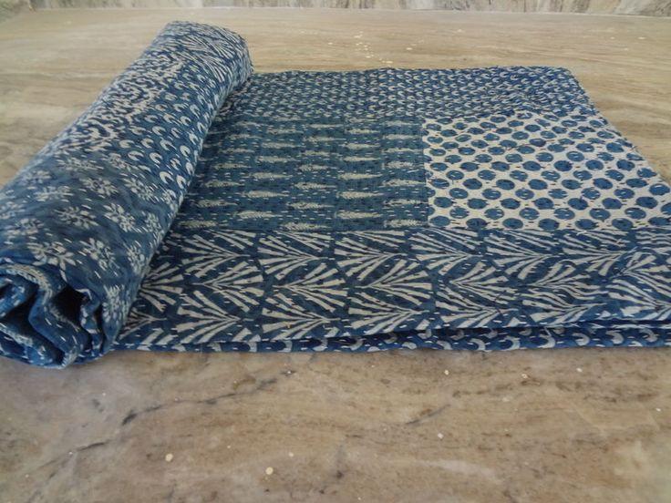 Indigo Blue Hand Block Print Kantha Quilt Patchwork Queen Size Bedspread Throw #Handmade #ArtsCraftsMissionStyle