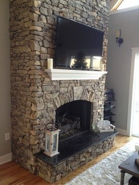 Stone Fireplace With Tv Stone Fireplaces Fireplace Tv