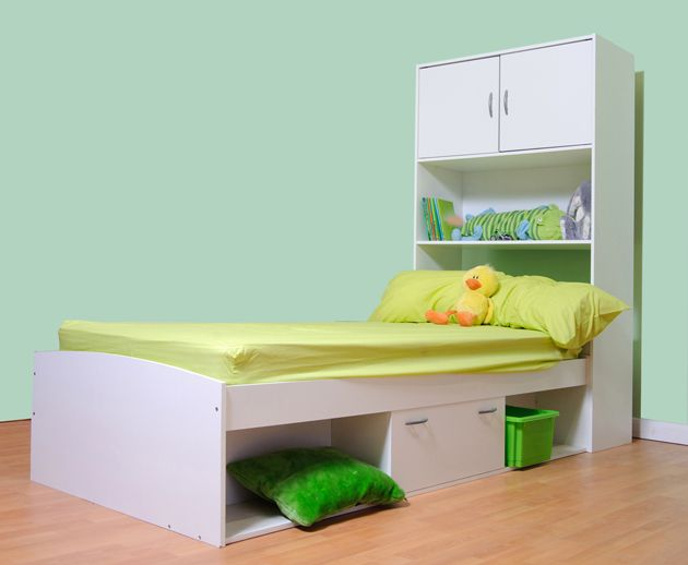 CHILDRENS TEENAGER CABIN BED WITH WALL CABINET