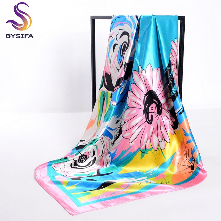 >> Click to Buy << [BYSIFA] Ladies Pink Silk Scarf 2017 New Design Accessories Large Size Muslim Head Scarf Cape 100*100cm Elegant Daisy Scarves #Affiliate