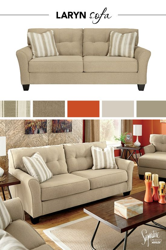 #AshleyFurniture - A neutral colored sofa provides a great area to accessorize with unique accessories to give your style the one-of-a-kind look you've been waiting for. Featuring the Laryn Sofa - Living Room Furniture - Sofas - Ashley Furniture - Signature Design by Ashley® - #Sofas