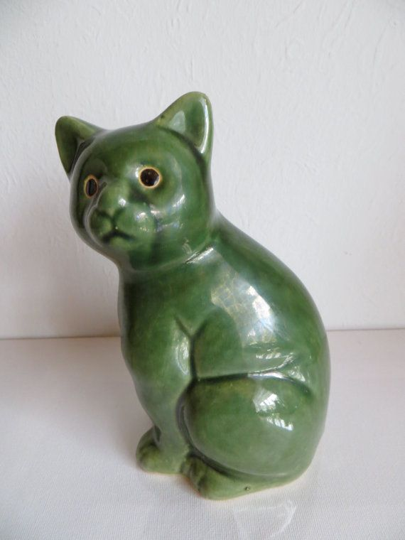 Green ceramic cat West Germany