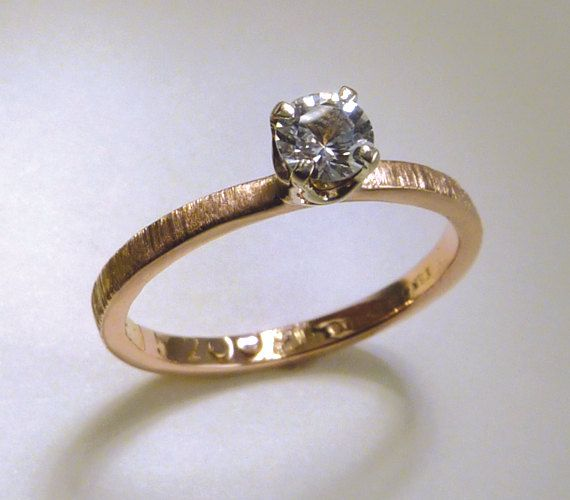 Rose Gold Engagement Ring Solitaire - White Sapphire, Prong Set, Diamond  Alternative Wood Grain Textured Hammered