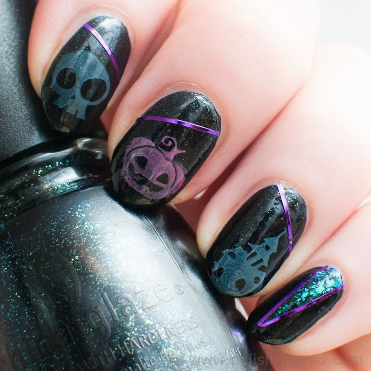 With Striping Tape Nail Art Ideas: 90 Best Halloween Nail Art Images On Pinterest