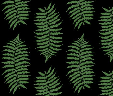 Large fern green (HEX #4f7942) fern leaf silhouettes on a black (HEX #000000) background. Each leaf is 11.5 inches long and 5.5 inches wide.