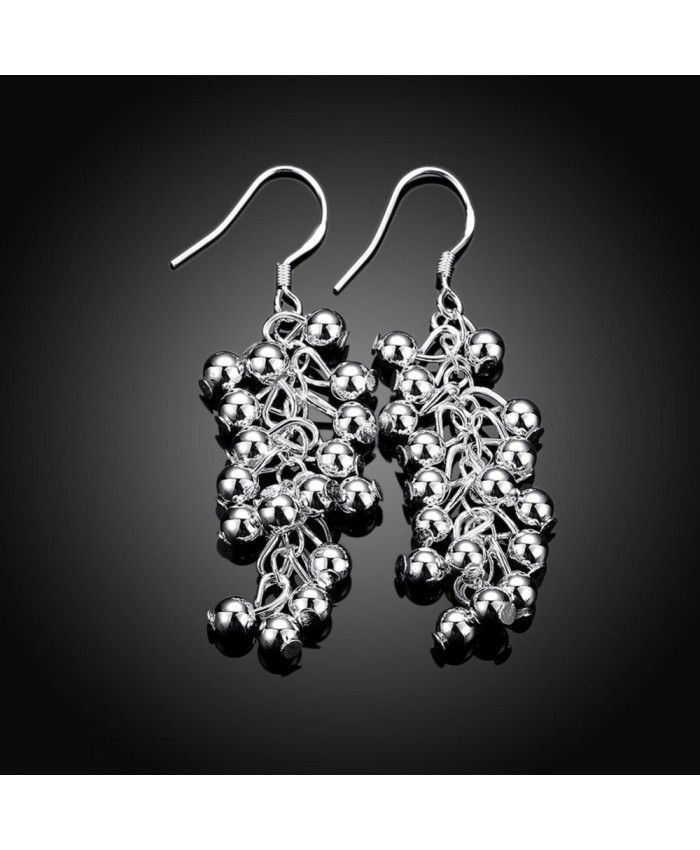 Creative Silver Plated Grapes Style Earrings