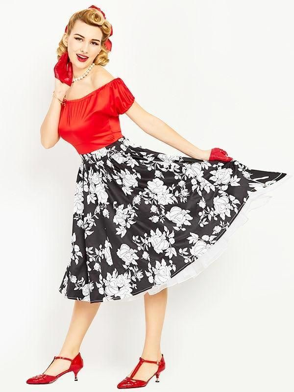 Women s Black And White Flower Red 50s Vintage Dress 3692465f184e