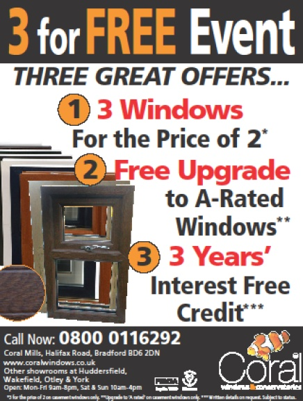 "Our fantastic February offer:      * 3 Windows for the price of 2    * 3 Years 0% interest free credit    * Free upgrade to ""A Rated"" Windows (Casement only)        Give us a call today on 0800 66 99 55 for a free design and quote.    #uPVC #residential #window #PVCu"