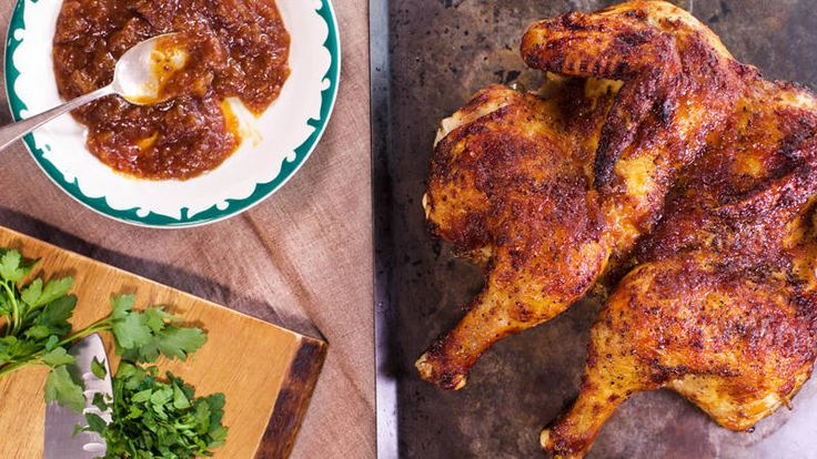 Sunny Anderson's Sweet-Glazed Butterflied Chicken, hot sauce glaze, increase hot sauce.