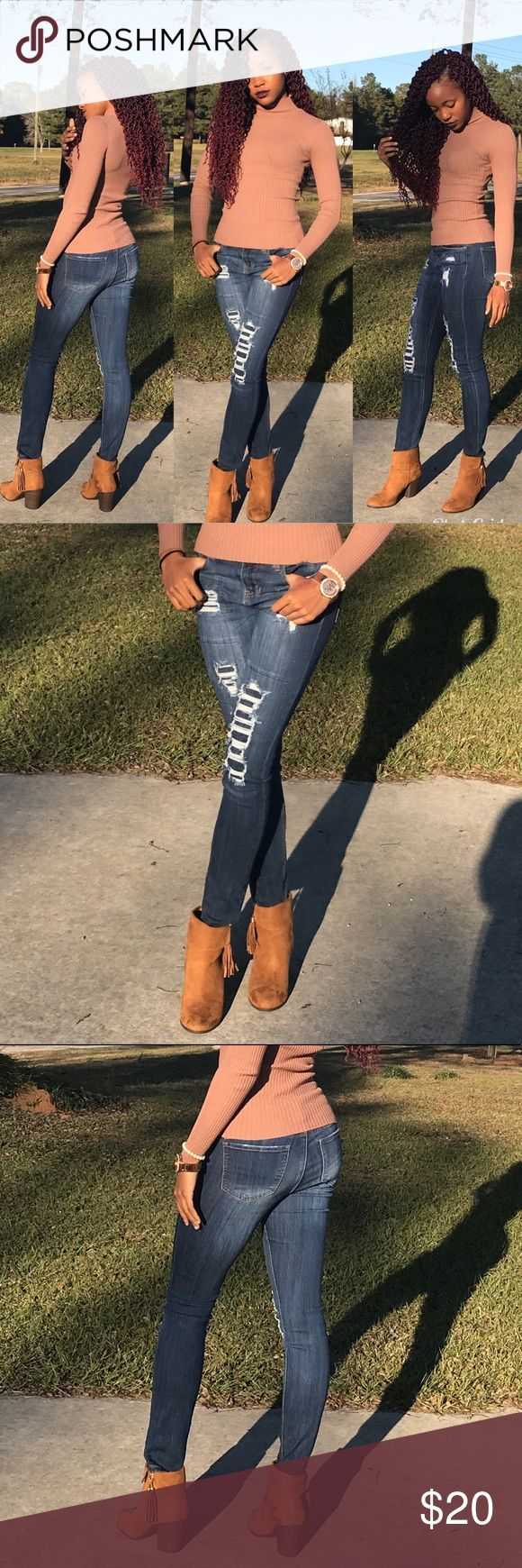 Dark Blue Washed Distressed Skinny Jeans • Midrise • Skinny Fit Hippie Laundry Pants Skinny