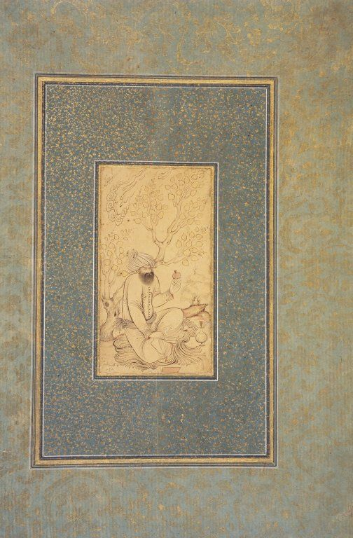 Man Holding a Pomegranate Medium: Ink, watercolor, and gold on paper Place Made: Isfahan, Iran Dates: AH 1028 / 1618 CE Dynasty: Safavid Period: Safavid