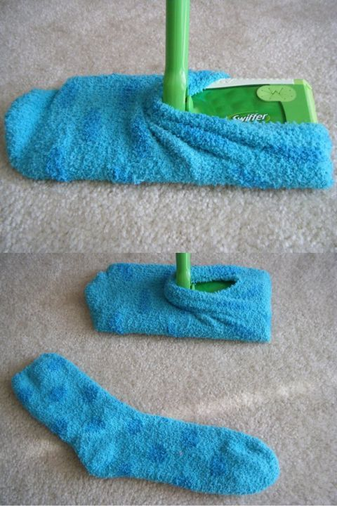 Swiffer Dust Socks Tutorial: Swiffer replacement packs can cost up to $15, but there's a dollar store item that'll do the same job for much less. Yep, socks! Turn old socks into reusable static Swiffer cloths, and never look back.