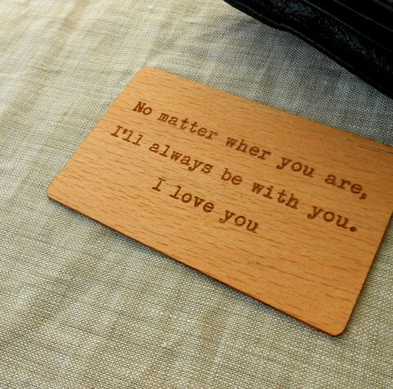 Wooden Wallet Insert Card - Laser Engraved Wallet Insert