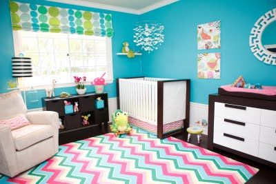 turquoise girls room-I think I really like this.  still not sure if i want a bright color or a more neutral one but this looks fun.