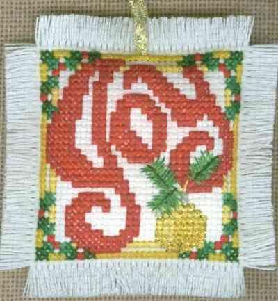 Joy Christmas Cross Stitch Ornament