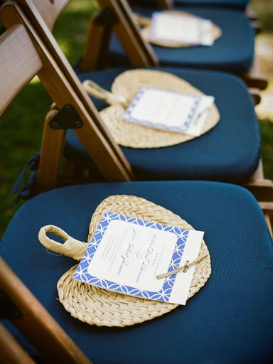 Thai outdoor wedding essentials. Woven fan wedding ceremony programs