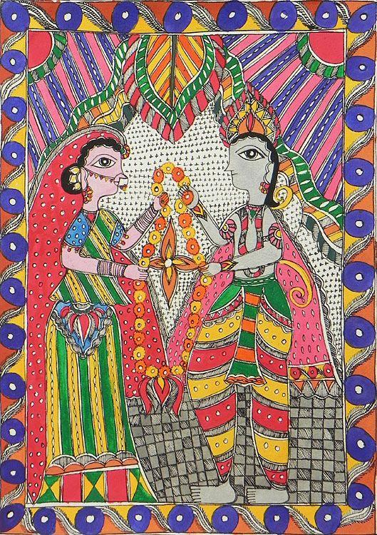 Sita's Swayamvar - Madhubani Painting $30.5 only