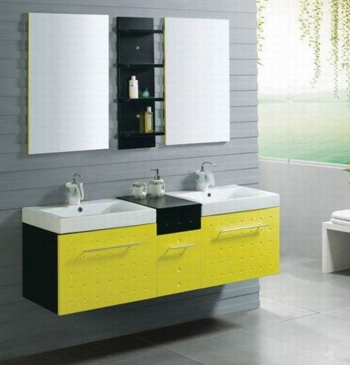 It'd bring anything out.: Bathroom Colors, Modern Bathroom, Beautiful House Interiors, Bathroom Vanities, Yellow Bathrooms, Bathroom Sinks, House Interior Design, House Interiors Design, Interiors Ideas