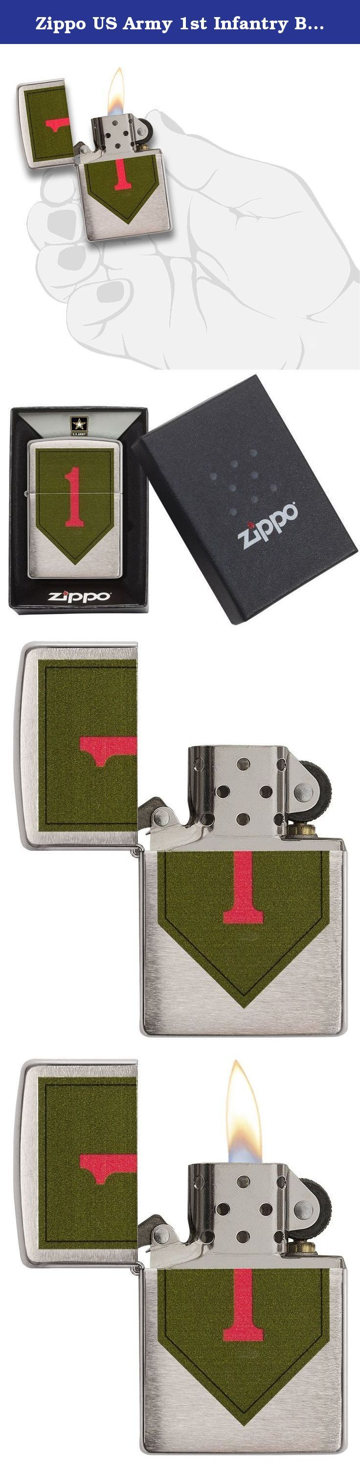 Zippo US Army 1st Infantry Brushed Chrome Pocket Lighter. This lighter features United States army 1St Infantry division. This brushed chrome lighter features the shoulder sleeve insignia which represents the oldest continuously serving division in the army. Comes packaged in an environmentally friendly gift box. For optimal performance, use with Zippo premium lighter fluid.
