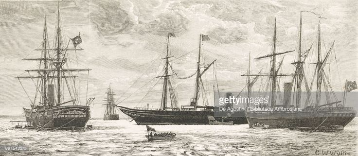 Egyptian steamer entering Suakin Harbor: Egyptian Gunboat Gafferia, HMS Euryalus, Egyptian Post Boat Negileh, Egyptian Gunboat Tor