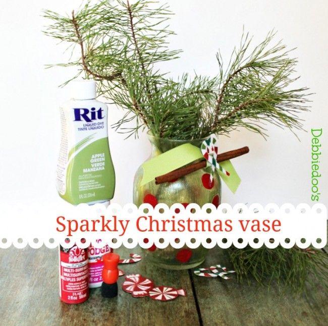 Christmas vase with Sparkle Mod Podge - Debbiedoo's