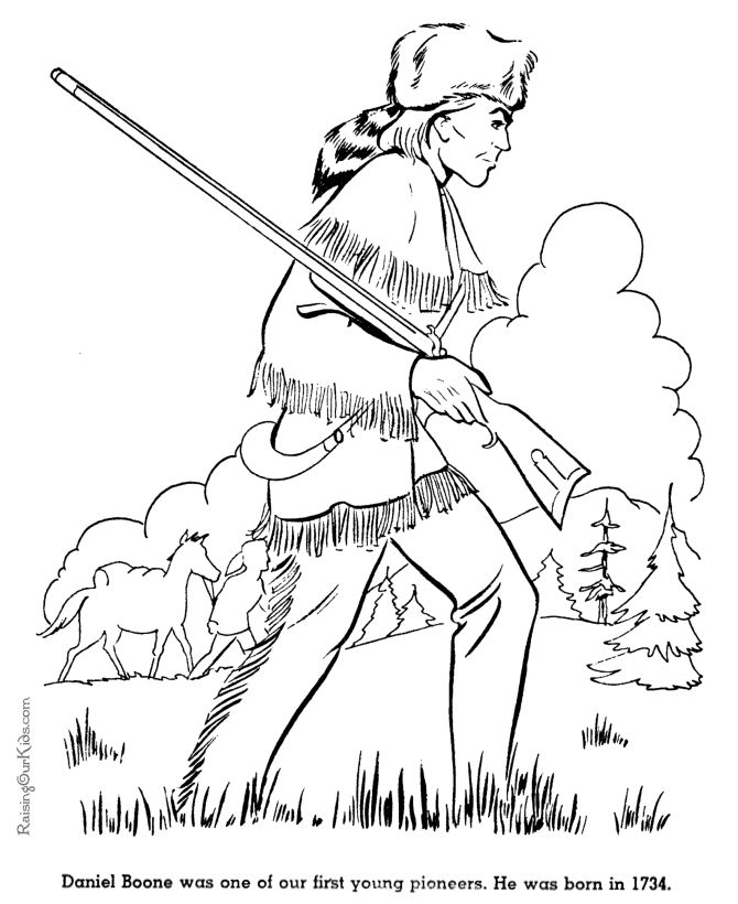 American Revolution Coloring Pages | Free printable Daniel Boone coloring pages for kid