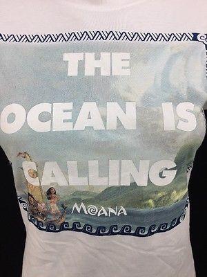 Walt Disney Moana The Ocean Is Calling Boat Maui Ladies Juniors White T-Shirt | eBay
