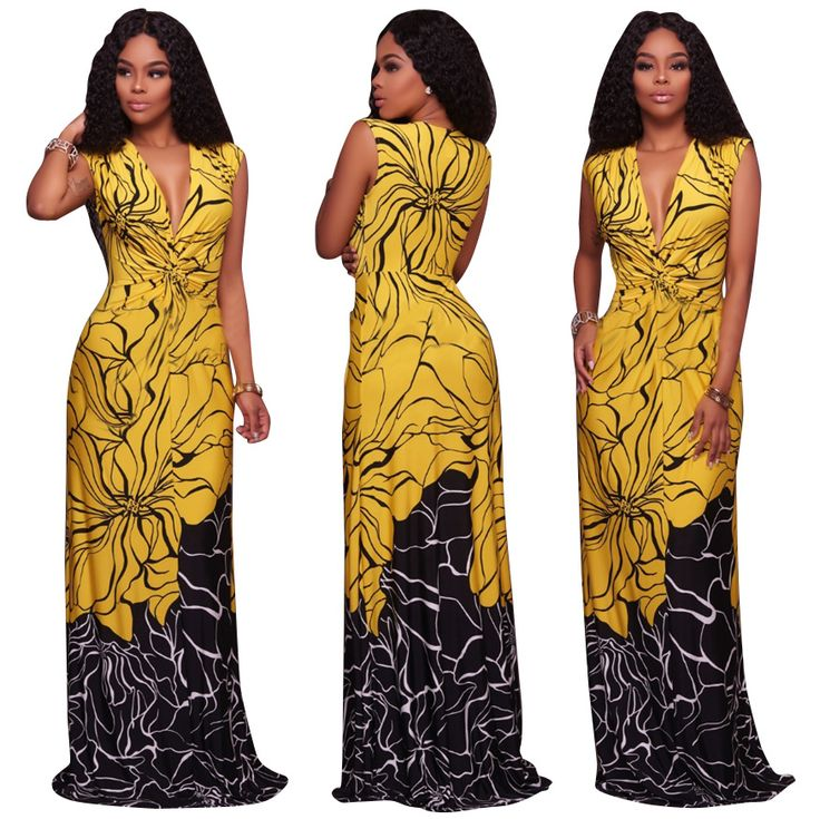 Women Bow Print Dress Women Backless Split Maxi Dress Deep V-neck Sexy Party Dress Casual Bohemian Dresses