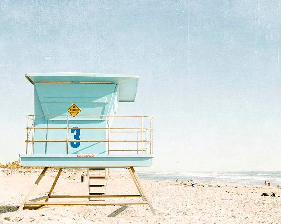 "Huntington Beach California, Lifeguard Tower, Beach Photography, Summer, Blue Aqua Beach Decor, Coastal,  Beach Print ""Huntington Tower"""