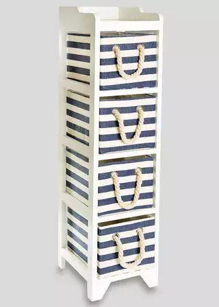 4 Drawer Stripe Wooden Tower Unit (24.5cm x 29cm x 95cm) £35 Matalan