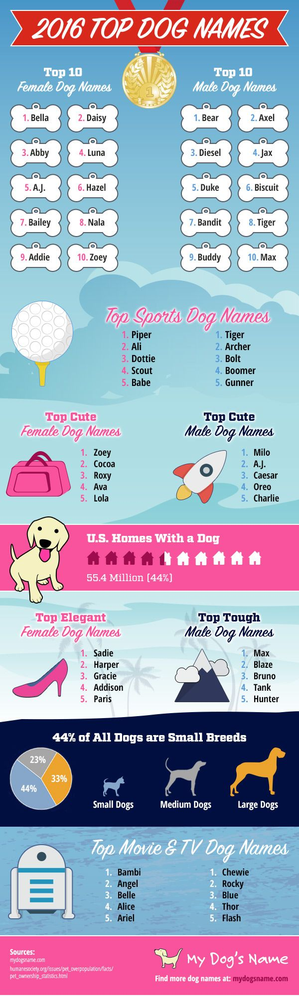 The top dog names of 2016. Find out which dog names are trendy and popular this year. So far, over 3 million new pup parents have used My Dog's Name, and these fun and fresh dog names ranked the highest on the list in 2016.